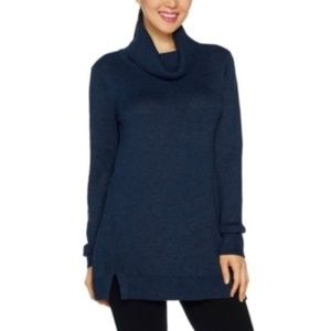 H by Halston Blue Turtleneck Tunic Sweater